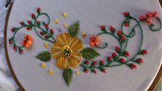 Hand embroidery . Satin stitch flower and Stump work without beads.(thre...