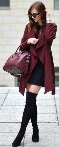 Barbora Ondrackova + thigh high boots + little black dress + matching burgundy coat + bag  Coat: Medicine, Dress: Zara, Boots: Stuart Weitzman, Bag: Givenchy.