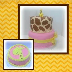 Giraffe cake, top tier covered in tan fondant with brown giraffe spots, bottom tier covered in pink fondant with yellow ribbon and pinwheel bow. Matching smash cake with pink butter cream, yellow border and giraffe head cutout