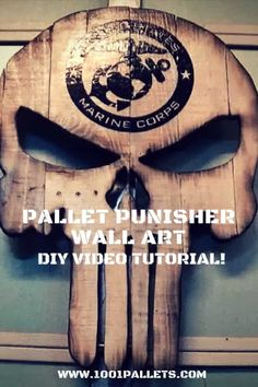 The symbol for the Punisher made with pallet wood.  #Diy, #DiyVideoTutorial, #PalletHomeAccessories, #PalletWood, #WallArt