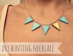 DIY polymer clay bunting necklace