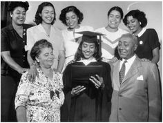 Irene and John Wesley Dobbs with their six daughters, all Spelman College graduates and the largest sibling set to graduate from the college: Irene Dobbs Jackson, class of '29; Juliet Dobbs Blackburn, class of '31; Millicent Dobbs Jordan, class of '33; Josephine Dobbs Clement, class of '37; Mattiwilda Dobbs Janzon, class of '46; June Dobbs Butts class of '48.