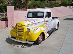 1939 Ford 1/2 Ton Pickup Yellow and White with Flames - ClassicCars.com & Hemmings Motor News