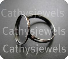 Ring Base Mounting Bezel Setting Antiqued Silver by Cathysjewels, $5.70