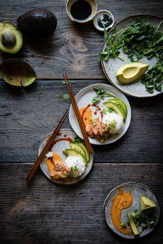 spicy ahi poke, avocado & rice.