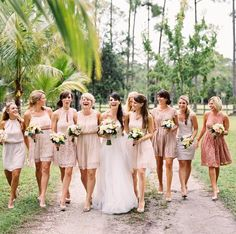 Essential Things For Beige Bridesmaid Dress Champagne Wedding Parties 23 - sitihome Pale Pink Bridesmaids, Champagne Bridesmaid Dresses, Bridesmaids And Groomsmen, Short Bridesmaid Dresses, Wedding Bridesmaids, Wedding Dresses, Bridesmaid Pictures, Wedding Images, Wedding Attire