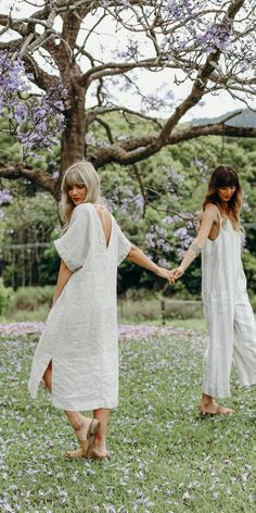 Luxury French Linen Loungewear - I Love Linen Dancing under the jacaranda trees. The beautiful deep V on the back of our classic linen dress in natural French linen. Effortlessly relaxed, this is a wardrobe go-to for every woman. Renaissance Clothing, White Linen Dresses, Womens Linen Dresses, Womens Linen Clothing, Gypsy Clothing, Travel Dress, Comfortable Fashion, Slow Fashion, Lazy Outfits