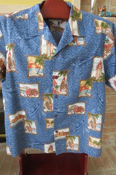 aa624fe3 Items similar to Vintage Hawaiian Aloha Shirt by Bishop Street - Size XL -  Classic Woody Cars - Hawaii Tourist Attractions - Tropical Mens Fashions  Luau ...