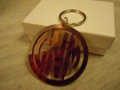 Acrylic Monogram Keychain -Tortoise shell gift on Etsy, $15.00