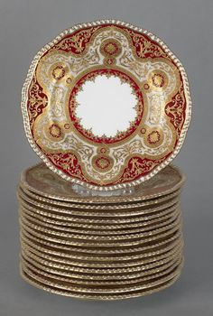 Coalport porcelain plates with gilt decoration