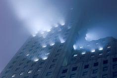 Downtown Manhattan Fog by Anton Repponen Cyberpunk, The Villain, Story Inspiration, Design Inspiration, Urban Landscape, Neon Lighting, City Lights, Scenery, Images
