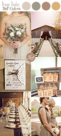 neutral rustic fall wedding color palette in shades of browns