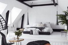Modern open-plan apartment in attic, loft style, render , Bedroom Black, Wood Bedroom, Master Bedroom, Bedroom Decor, Wood Ceilings, Ceiling Beams, Wooden Wall Cladding, Brick Tile Wall, Open Plan Apartment
