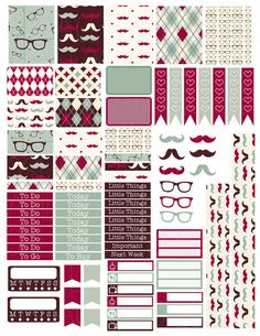 Printable Planner Stickers Argyle Mustache Glasses by LaceAndLogos