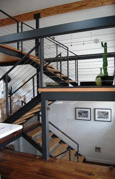 Metal structure for stairs, but with glass balustrades