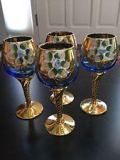 eea6bf35931 4 Blue Hand painted Bohemian Czech Glass Goblets Decanter