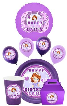 Cute Sofia the First Balloon, Plates, Cup, Stickers, DIY Print, Sofia the First Birthday, Sofia Party, Sofia Images, Sofia Supplies. $9.99, via Etsy.