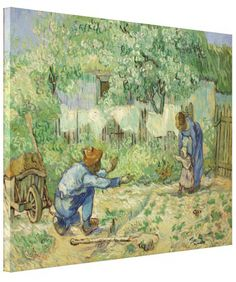 First Steps (after Millet) by Vincent Van Gogh Stretched #Canvas #Prints. #VanGogh #Vincent #PostImpressionism #Impressionism #oilpainting #Millet #baby #art #painting