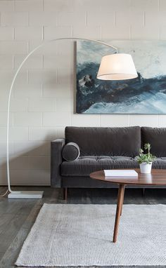 Mindful lighting in small spaces is easy with a floor lamp that provides both style and function. If your space isn't set up to provide hanging pendant lights, sweep light exactly where you wa… White Living Room Set, Living Room Sets, Living Spaces, Living Room Inspiration, Interior Inspiration, White Floor Lamp, Up House, Interior Exterior, Diy Interior