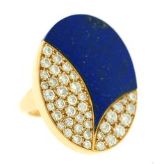 BULGARI Lapis and Diamond 1970s Ring | From a unique collection of vintage fashion rings at https://www.1stdibs.com/jewelry/rings/fashion-rings/