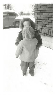 Vintage Snapshot Buttoning Up Her Coat Mom Cute