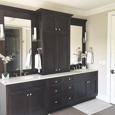 @carolineondesign master bathroom, bathroom vanity, vanity, double sink, bathroom cabinets, espresso cabinets, sconces, quartz countertops