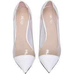 White Contrast Sheer High Heel Shoes (660 UAH) ❤ liked on Polyvore featuring shoes, pumps, heels, sheinside, white pointy-toe pumps, high heel shoes, white high heel pumps, heels stilettos and pointed-toe pumps