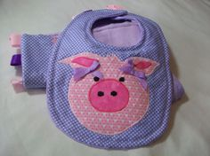 Baby Bib and Burp Cloth Set  Appliqued Pig Bib  by PeaPodLilFrogs, $25.00