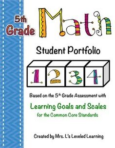These student portfolio pages were created for students to record and present their progress in the Common Core Math standards on the Scaled Assessments, but can be used to organize and track any work from these standards. These pages are meant to be dividers for student work portfolios, and also provide a apace for students to write personal reflections and record progress throughout the year.