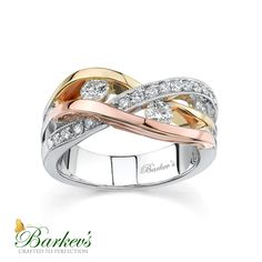 Unique, modern styling, gives this tri-color gold, diamond wedding band it's pizzazz. The white gold shank sports accents bands of yellow and rose gold twisting around each other. Three channel set round diamonds grace the openings created by the bands. Cushion Cut Diamond Ring, Gold Diamond Band, Gold Bands, Diamond Wedding Bands, Womens Wedding Bands, Wedding Rings For Women, Wedding Rings Solitaire, Engagement Rings, Or Rose