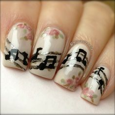 Classic Vintage Floral Music Nails. White, Gray/Silver, Black, Mauve Pink, Minty Green.