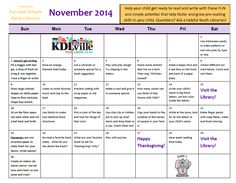 November 2014 Early Literacy Calendar. Try all these fun activities with your child to get them ready to read!