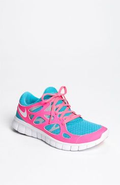 "Nike 'Free Run 2+' Running Shoe (Women) (minimal & flexible with""glove-like fit"".  Love the bright pink & blue!"