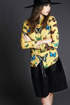 Butterfly Silk Shirt $128