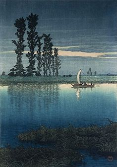 "Japanese Art Print ""Dusk at Ushibori (Twilight at Ushibori)"" by Kawase Hasui. Shin Hanga and Art Reproductions http://www.amazon.com/dp/B00WTLKN6Y/ref=cm_sw_r_pi_dp_WNQvwb0DH79K7"