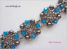Beaded Bracelet DIY Pattern Blue Opal Grey Metal Round