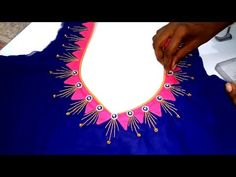 Easy To Create Grand Embroidery Blouse Design for Embroidery Saree Blouse Back Neck Design – dressideas Blouse Back Neck Designs, Chudidhar Neck Designs, Patch Work Blouse Designs, Hand Work Blouse Design, Simple Blouse Designs, Neck Designs For Suits, Blouse Designs Silk, Kurti Neck Designs, Stylish Blouse Design