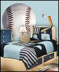 Tons Of Baseball Themed Items For Bedroom Decorating Tips These Wall Graphics Will BOYS SPORTS PATCH Football Basketball Soccer Balls Blue