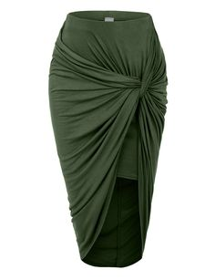 LE3NO Womens Asymmetrical Banded Waist Wrap Cut Out Hi Low Maxi Skirt | LE3NO
