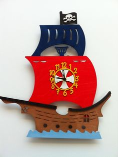 Pirate Ship Wall Clock £24.00 Pirate Bedroom, Pirate Crafts, Barrel Table, Kool Kids, Diy Clock, Childrens Beds, Wood Clocks, Bedroom Accessories, Sully