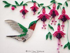 Hummingbird on the Fuschia - by: Stacy Lash Bettencourt