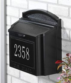 This Whitehall wall mount mailbox is fully customizable with your address numbers. The numbers are a great contrast to the metal, so you won't need another address plaque if you go with this mailbox. Black Mailbox, Large Mailbox, Wall Mount Mailbox, Mounted Mailbox, Colonial, Residential Mailboxes, Security Mailbox, Personalized Plaques, Whitehall Products