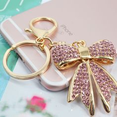 Butterfly Keychain R Cute Keychain, Keychains, Heart Keyring, Bee Gifts, Rhinestone Bow, Queen Fashion, Pink Accessories, Everything Pink, Lucky Charm