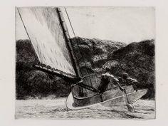 The Cat Boat  Edward Hopper, 1922  Etching