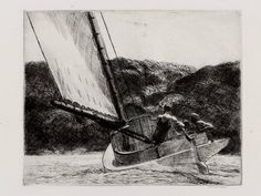 The Cat Boat  Edward Hopper, 1922  Etching