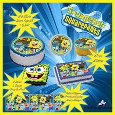 SPONGE Bob Square Pants Edible Party Edibles Cake Cupcake Side Strips Cookie Topper Birthday Sugar Icing Frosting Fondant Sheet Personalized
