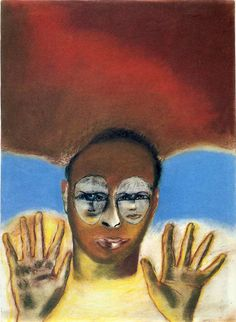 Francesco Clemente works with gouache and pastel. His paintings consist of mutilated body parts and erotic imagery as well as contorted self portraits. I find the simplicity and textures in his shapes interesting.