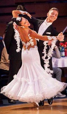 White/Tan Ballroom Dress SELAVIDANCE.COM #171MREI02