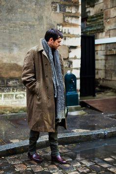 On the Street……Urban Camouflage, Paris « The Sartorialist Dapper Gentleman, Gentleman Style, Curvy Fashion, Mens Fashion, Street Fashion, Mens Winter Coat, Sartorialist, Poses, Sharp Dressed Man