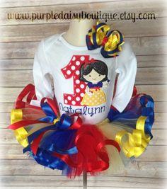 Snow White Inspired Cutie Personalized Ribbon Trim Tutu Birthday Set on Etsy, $62.00